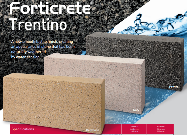 Forticrete Trentino 100mm Ivory Blocks